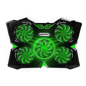 """5 Fans Gaming Laptop Cooling Pad for 12""""-17"""" Laptops with LED Lights Dual USB Ports Adjustable Height at 1400 RPM"""