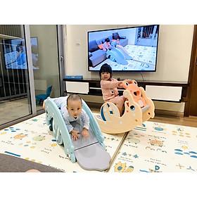 Cầu trượt bập bênh  hình cá heo Holla 2020 thiết kế 3in1Ếch bập bênh- Cầu trượt cá heo- Cột bóng rổ cho bé thỏa sức vận động chỉ trong 1 sản phẩm
