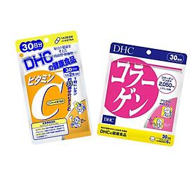 Combo Viên Uống DHC Collagen - Vitamin C Nhật Bản