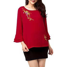 Áo Kiểu Nữ Tay Loe Thêu Hoa Màu Đỏ 743 An Thủy - Đỏ
