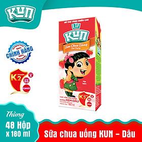 Sữa Chua Uống KUN Kem Dâu Thùng 48 Hộp x 180ml