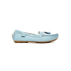 Giày Mọi Nữ Da Bò Nơ Sulily M01-II17XANH