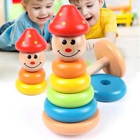 Đồ chơi tháp cầu vồng gỗ lật đật chú hề cho bé