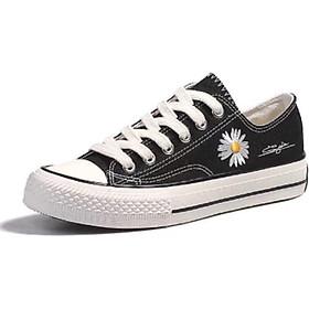 Giày nữ thấp cổ thêu hoa cúc siêu đáng yêu