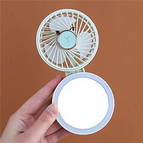 Quạt Mini Gấp Gọn Có Đèn Led Và Gương Trang Điểm (Giao ngẫu nhiên mẫu)