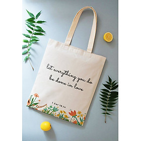 Túi vải Canvas (tote shopping bag) Câu Lời Chúa 4 (1 Cor 16,14)
