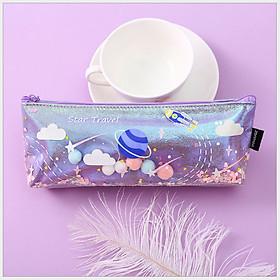 Túi/bóp/ví đựng bút - đựng mĩ phẩm nhũ lấp lánh + Tặng 1 set kẹp tăm ngũ sắc