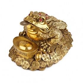 Tượng linh vật Thiềm Thừ cóc ba chân ôm nén vàng phong thủy Tâm Thành Phát
