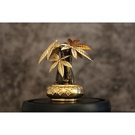 Chậu cây kim ngân mạ vàng 24K- cây phong thủy để bàn làm việc 11x15cm