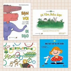 """Combo 4 cuốn Ehon với chủ đề """"Bé hào hứng"""". Bao gồm: Bạn Voi đi dạo, Đi tìm báu vật, Đại hội thể thao Kerolympic, Bé Socola đi biển."""