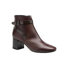Giày Boots Nữ GEOX D AUDALIES M.B SMO.LEA+SYNT DK BURGUNDY/CHESTNUT - Tím Rượu