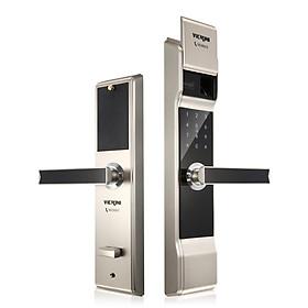 Khóa cửa điện tử VICKINI 39812.001 MSN ken xước mờ. Mở bằng Vân tay, mật mã, thẻ từ, chìa cơ. Hàng chính hãng