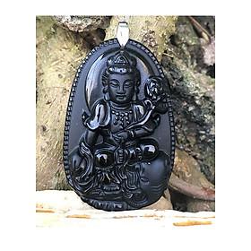 Mặt dây chuyền Phật bản mệnh tuổi Thìn, Phật Phổ Hiền Bồ Tát, Đá Phong Thủy, Màu Đen, To, MAN3