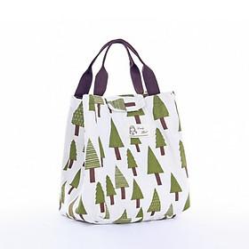 Túi đựng cơm giữ nhiệt vải Offord size lớn hình cây thông + tặng kèm 01 quyển sổ tay