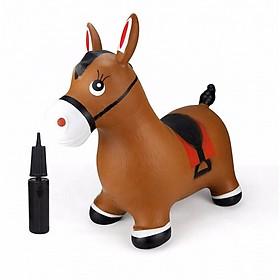 Thú Nhún Bơm Hơi Hình Chú Ngựa Màu Nâu Toys House