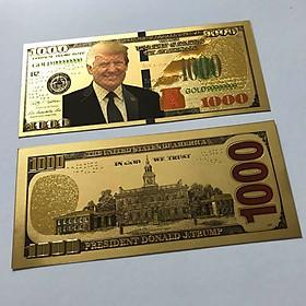 Tiền 1000 USD Donald Trump mạ vàng Plastis seri 99999999