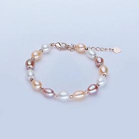 Vòng Tay Ngọc Trai Mix Bạc S925 3li - Phối nhiều màu, phù hợp mọi kích cỡ tay, hạt ngọc 6.5-7.5li sáng bóng đẹp, khóa bạc (vàng, hồng, trắng) - Mã CT2022 Thiết kế mới nhất năm nay