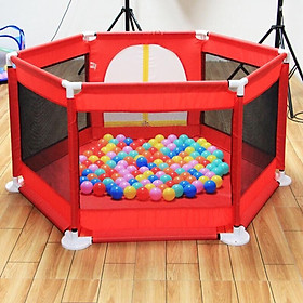 Quây cũi nhà bóng lục giác khung inos mẫu mới -tặng 10 quả bóng (giao màu bé trai)