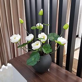 Hoa lụa, Bó hoa sen giả kèm nụ và lá  sen dùng để trang trí nhà cửa, văn phòng, nhà hàng (chưa gồm bình gốm sứ)