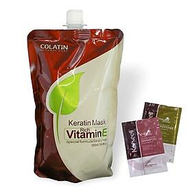 Túi dầu ủ tóc Collagen COLATIN Vitamin E 500ml tặng cặp gội xả gói Karseell Maca 15mlx2