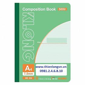 Sổ may dán gáy A4 - 500 trang; Klong 324 xanh