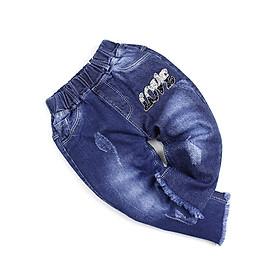 Quần jean xanh đậm lửng qua đầu gối đính đá LOVE cho bé gái 0.5-2 tuổi từ 9 đến 13 kg 05038