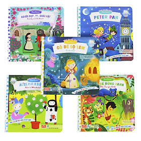 Sách Bộ 5 cuốn - Sách chuyển động - First stories - Người đẹp và quái vật, Cô bé Lọ Lem, Peter Pan, Cậu bé rừng xanh, Alice ở xứ sở diệu kỳ