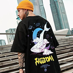 2 Color【M-3XL】Summer New Style Fashion Whale Printed Graphic Short Sleeve T-shirt Men Breathable Unisex Half Sleeve T-shirt Oversize Student Short T-shirt Couple Wear