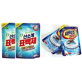 Bộ 2 gói bột tẩy vệ sinh lồng máy giặt, 2 Gói bột giặt phụ trợ tẩy vết bẩn khử khuẩn quần áo Hàn Quốc 400g