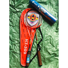 combo 2 vợt cầu lông luyện tập kèm bao vợt màu ngẫu nhiên , vợt có tay cầm bằng mút siêu êm bao gồm 1 ống cầu 12 trái