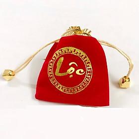 Túi nhung màu đỏ chữ Lộc mang màu săc may mắn, cầu bình an, tài lộc - PCCB MINGT