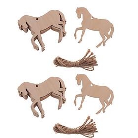 20 Miếng Gỗ Hình Con Ngựa Cắt Ra Vật Trang Trí Tôn Dáng Thẻ Có Dây