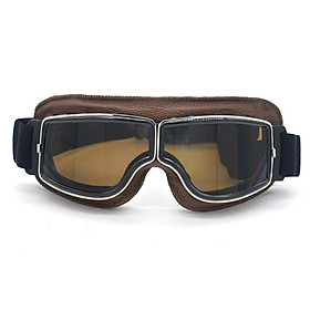 Leather Vintage Scooter Goggles Pilot Ski Sunglasses Helmet Eyewear Frame