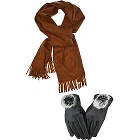 Khăn len quàng cổ nữ tặng kèm găng tay lót nỉ ( Vàng)