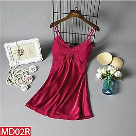 Váy Ngủ Hai Dây Hisexy.vn Lụa Satin Có Mút Ngực Phối Ren Đủ Size Dưới 62Kg