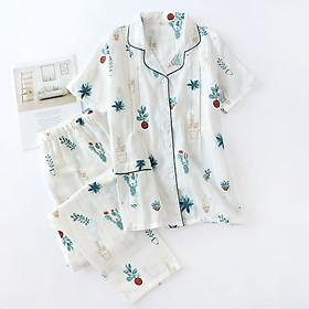Bộ đồ bầu, sau sinh cho con bú, Pijama thô đũi cực mát (xương rồng trắng/hồng)