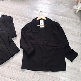 Áo blazer nữ mỏng một lớp chất thô kẻ không nhăn không bai xù full size S M L (Cam kết hàng y hình)