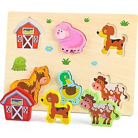 Bảng ghép hình 3D bằng gỗ  cho bé  mới làm quen với ghép hình - chủ đề nông trại