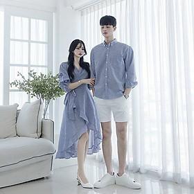 Set áo đôi đồ cặp tình nhân áo sơ mi nam đầm đuôi cá nữ dài kẻ sọc phong cách Hàn Quốc dùng đi biển đi chơi chụp hình cưới hàng cao cấp - Smice House