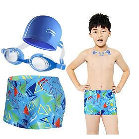 Li Ning LI-NING children's swimwear boys swim trunks suit baby boxer swim trunks goggles swimming cap three-piece suit 503 blue suit 12