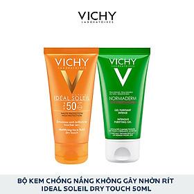 Bộ Kem Chống Nắng Không Gây Nhờn Rít Vichy Ideal Soleil Dry Touch 50Ml Và Gel Rửa Mặt Normaderm Phytosolution 50Ml