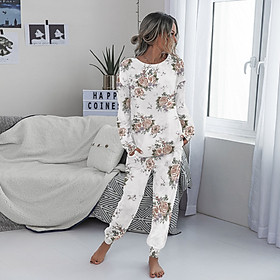 Women 2 Piece Pajama Set O-Neck Long Sleeve Pullover T-shirt with Long Pants Loungewear Home Wear