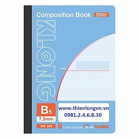 Sổ may dán gáy B5 - 500 trang; Klong 340 bìa tím nhạt