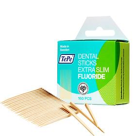 Tăm răng gỗ siêu mỏng có fluoride Tepe Wooden X-slim with Fluor 160pcs (160 cái)