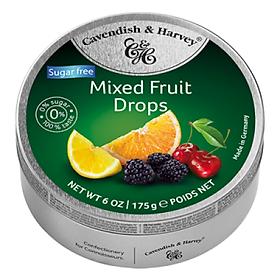 Kẹo Trái Cây Không Đường Cavendish & Harvey (175g) Sugar Free Mixed Fruit Cao Cấp Hộp Thiếc Bạc Nhập Khẩu