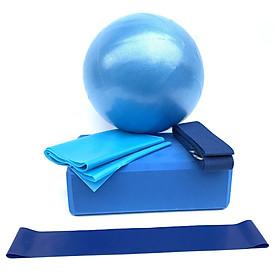 Set Bóng + Gạch + Khăn Latex + Dây Co Giãn + Vòng Kháng Lực Luyện Tập Yoga (5 Món)