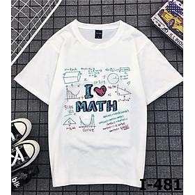 Áo Thun Tay Ngắn In I LOVE MATH I4812