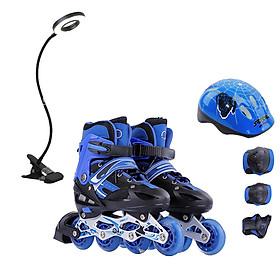 Combo Bộ Giày trượt patin OS phát sáng + Đèn LED chống cận cho bé (Kèm bộ bảo hộ)