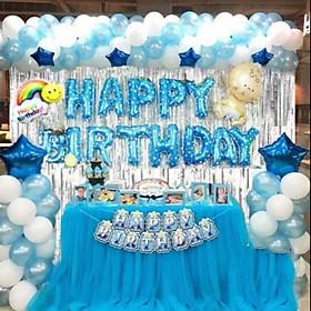 Combo bóng bay trắng - xanh trang trí sinh nhật cho bé (Combo 3)