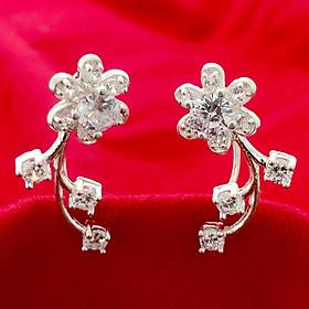 Bông tai nữ Bạc Quang Thản  kiểu khuyên vành đeo sát tai gắn đá màu trắng, phong cách cá tính phù hợp cho mọi lứa tuổi - QTBT58